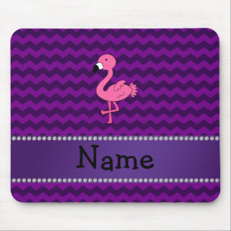 Personalized name pink flamingo purple chevrons mousepads