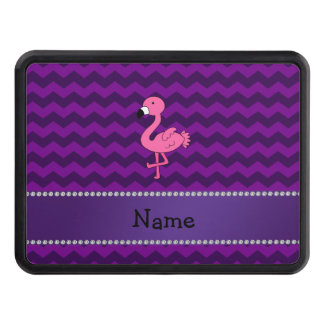 Personalized name pink flamingo purple chevrons tow hitch covers