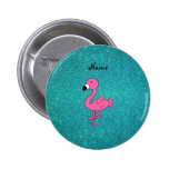 Personalized name pink flamingo turquoise glitter pinback button