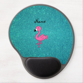 Personalized name pink flamingo turquoise glitter gel mouse pads