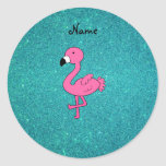 Personalized name pink flamingo turquoise glitter stickers
