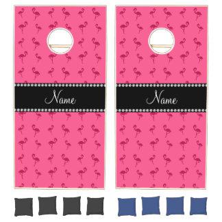 Personalized name pink flamingos cornhole set
