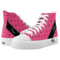 Personalized name pink flamingos High-Top sneakers