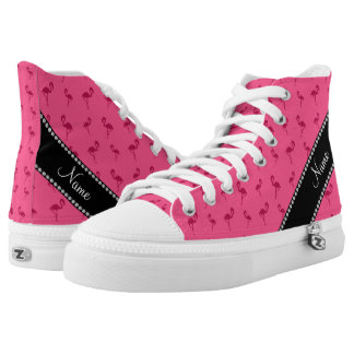 Personalized name pink flamingos printed shoes