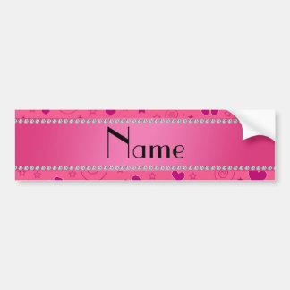 Personalized name pink flowers hearts swirls stars bumper sticker