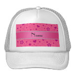 Personalized name pink flowers hearts swirls stars hat