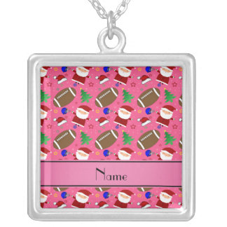Personalized name pink football christmas custom jewelry