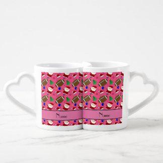 Personalized name pink football christmas couples' coffee mug set