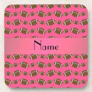 Personalized name pink footballs coaster