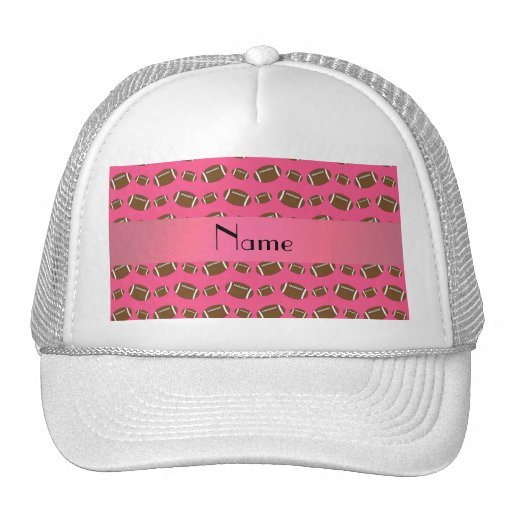 Personalized name pink footballs trucker hats