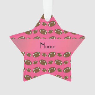 Personalized name pink footballs ornament