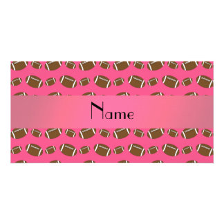 Personalized name pink footballs picture card