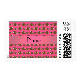 Personalized name pink footballs postage stamp