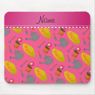 Personalized name pink gardening flowers mouse pad