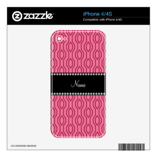 Personalized name pink geometric diamonds pattern skins for the iPhone 4