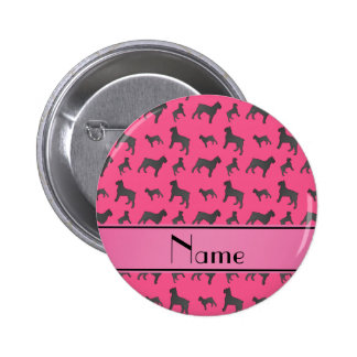 Personalized name pink Giant Schnauzer dogs 2 Inch Round Button
