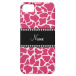 Personalized name pink giraffe pattern iPhone 5 covers