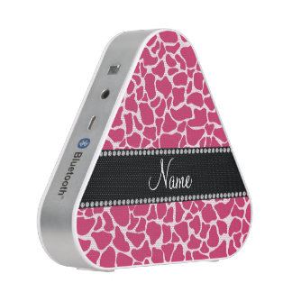 Personalized name pink giraffe pattern speaker
