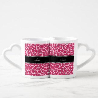 Personalized name pink giraffe pattern couples' coffee mug set