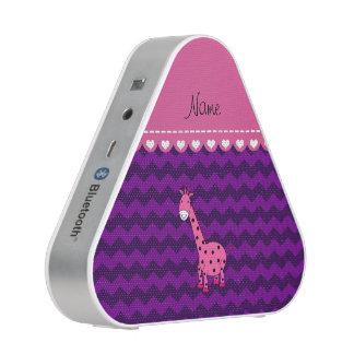 Personalized name pink giraffe purple chevrons bluetooth speaker
