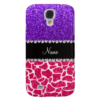 Personalized name pink giraffe purple glitter HTC vivid / raider 4G cover