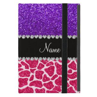 Personalized name pink giraffe purple glitter iPad mini cover