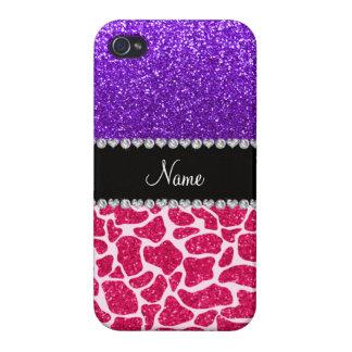 Personalized name pink giraffe purple glitter iPhone 4 cases