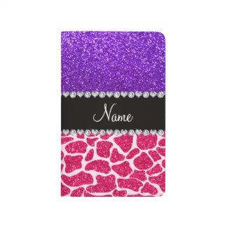 Personalized name pink giraffe purple glitter journal