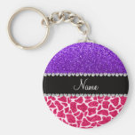 Personalized name pink giraffe purple glitter basic round button keychain