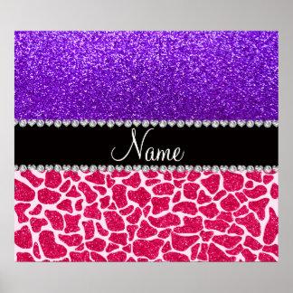 Personalized name pink giraffe purple glitter poster