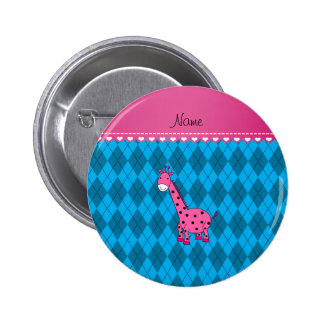 Personalized name pink giraffe sky blue argyle 2 inch round button