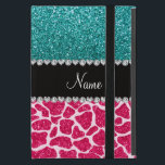 "Personalized name pink giraffe turquoise glitter case for iPad mini<br><div class=""desc"">Hot pink glitter giraffe animal print pattern background and bright aqua / turquoise glitter (not real glitter) black diamonds stripe (faux diamonds, not real) with hearts and dots personalized with your name gifts or monogram gifts or your initials. Ideal for weddings, save the date, birthdays, and much more featuring an...</div>"
