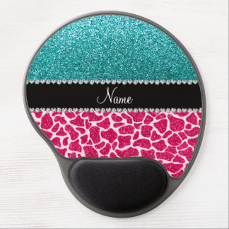 Personalized name pink giraffe turquoise glitter gel mouse pad