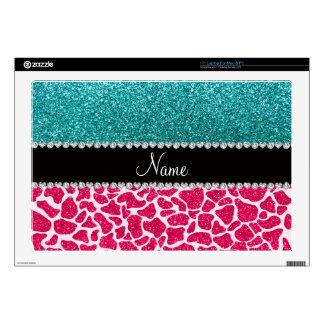 Personalized name pink giraffe turquoise glitter laptop skins