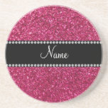 Personalized name pink glitter beverage coaster