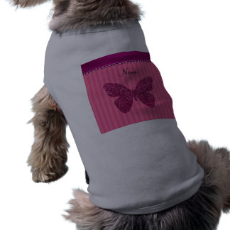 Personalized name pink glitter butterfly doggie t shirt