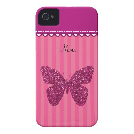 Personalized name pink glitter butterfly iPhone 4 cover
