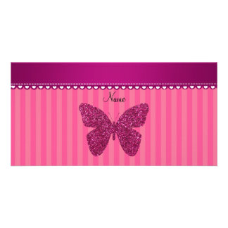 Personalized name pink glitter butterfly photo card