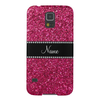 Personalized name pink glitter galaxy s5 covers
