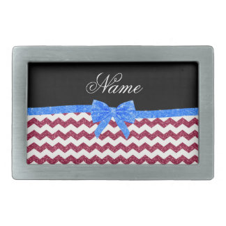 Personalized name pink glitter chevrons blue bow rectangular belt buckles