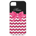 Personalized name pink glitter chevrons bow iPhone 5 cover