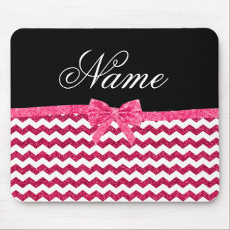 Personalized name pink glitter chevrons bow mouse pad