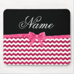 Personalized name pink glitter chevrons bow mousepads