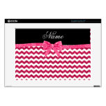 "Personalized name pink glitter chevrons bow skins for 15"" laptops"