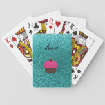 Personalized name pink glitter cupcake card deck