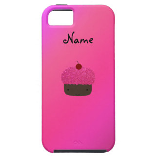 Personalized name pink glitter cupcake iPhone 5 cover