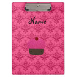 Personalized name pink glitter cupcake damask clipboards