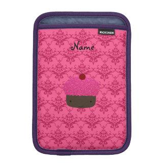 Personalized name pink glitter cupcake damask sleeve for iPad mini