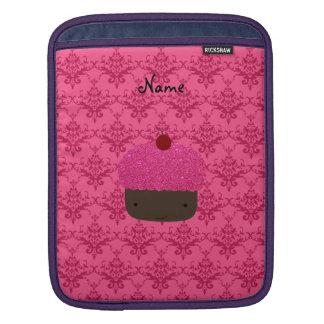 Personalized name pink glitter cupcake damask iPad sleeve