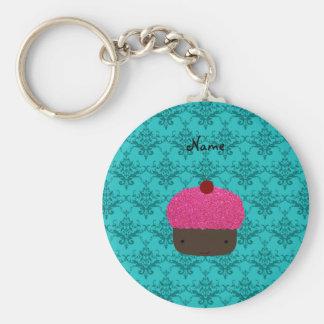 Personalized name pink glitter cupcake damask key chain